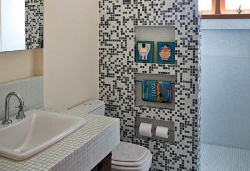 Ideias criativas para Decoração de Banheiros pequenos -> Ideias Baratas Para Decoracao De Banheiro
