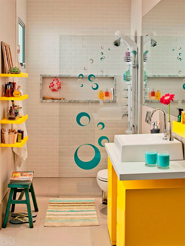 Ideias criativas para Decoração de Banheiros pequenos -> Banheiro Pequeno Adesivo