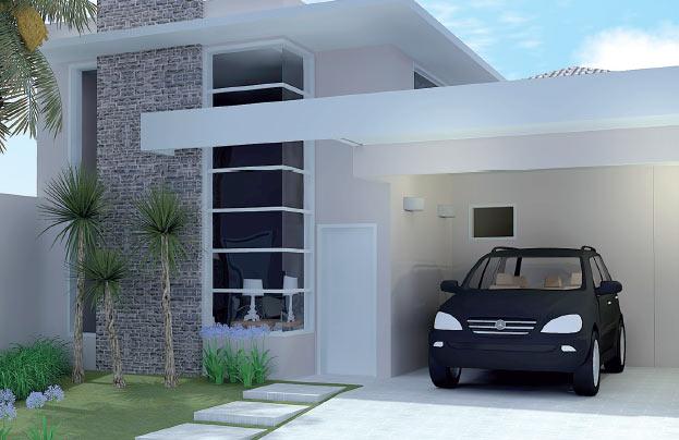 12 modelos de fachadas de casas simples for Fachadas de casas pequenas modernas de una planta