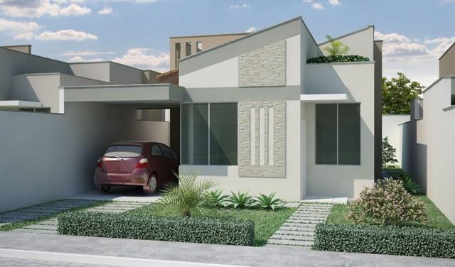 Fotos de fachadas de casas modernas telhado embutido e for Modelos de frentes de casas