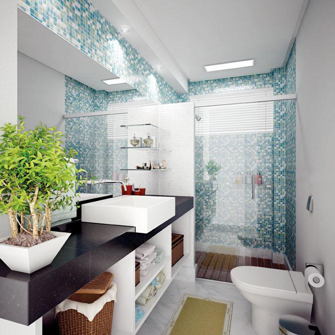 9 Modelos de Banheiros modernos e baratos -> Banheiros Modernos Pastilhados