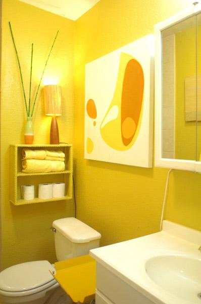 9 Modelos de Banheiros modernos e baratos -> Decoracao De Banheiro Pequeno Amarelo