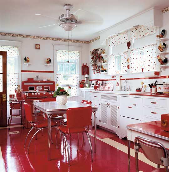 Decoracao de cozinhas vintage for Kitchen colors with white cabinets with papier peint décoration murale
