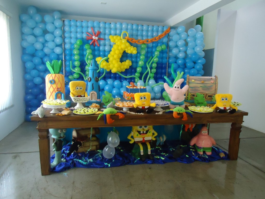 Decora o bob esponja para festa de anivers rio infantil for B day party decoration ideas