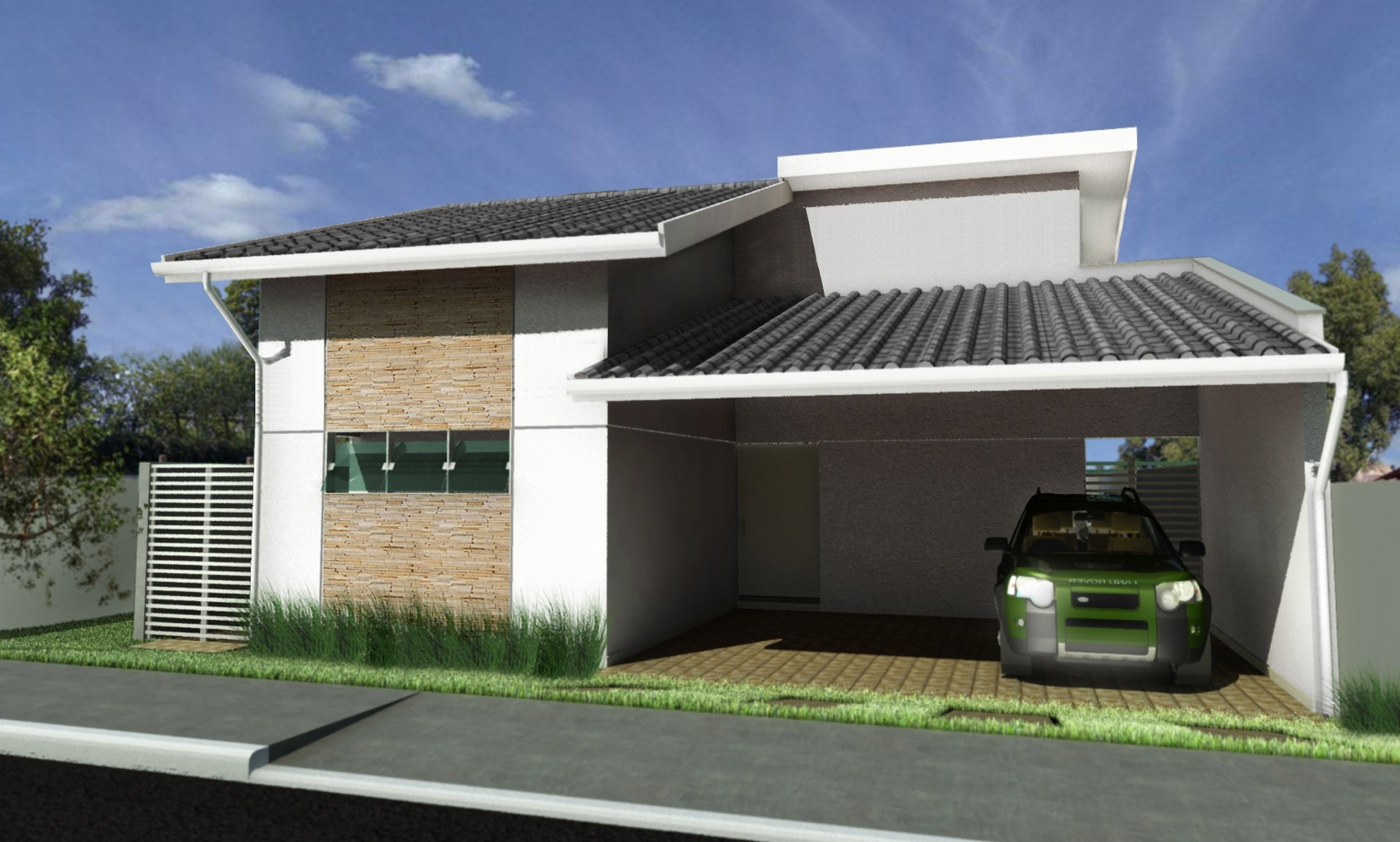 18 modelos de fachadas de casas modernas for Modelos cielorrasos para casas