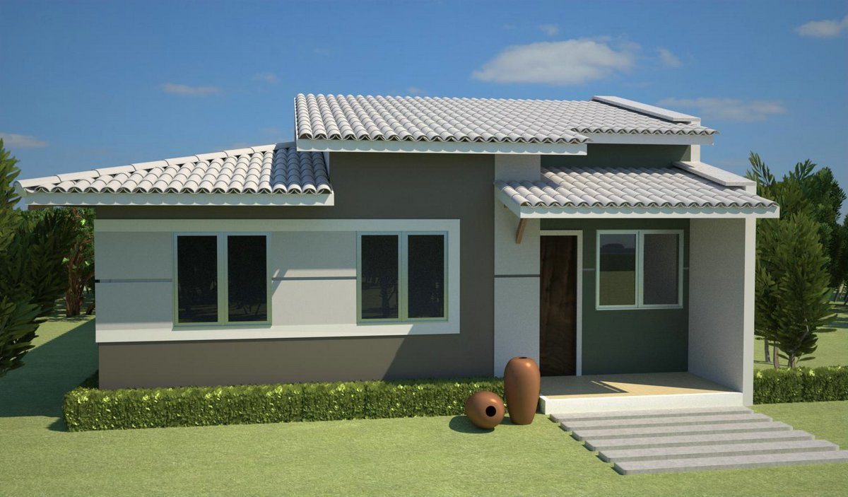 30 modelos de frentes de casas for Modelos de frentes de casas