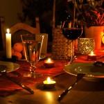 Decoração de Mesa de jantar romântico