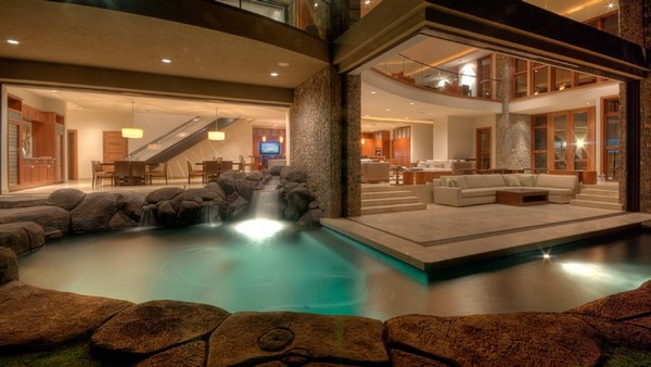 18 fotos de exteriores de casas modernas for Mansion plans with indoor pool