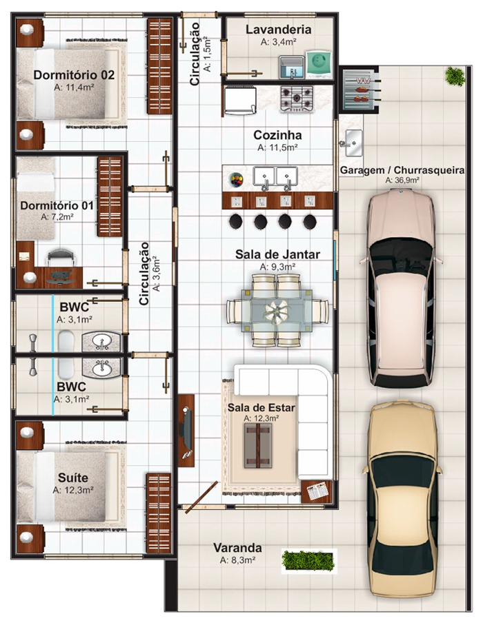 Plantas de casas com 3 quartos modelos gr tis for Casa moderna 2 andares 3 quartos
