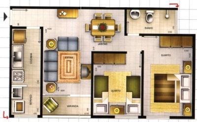 12 modelos de plantas de casas com 3 quartos for Planos de casas pequenas de dos plantas