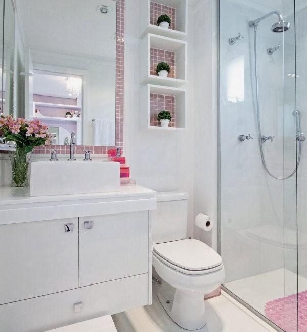 19 Modelos para Decoração de Banheiro social -> Banheiro Pequeno Suite