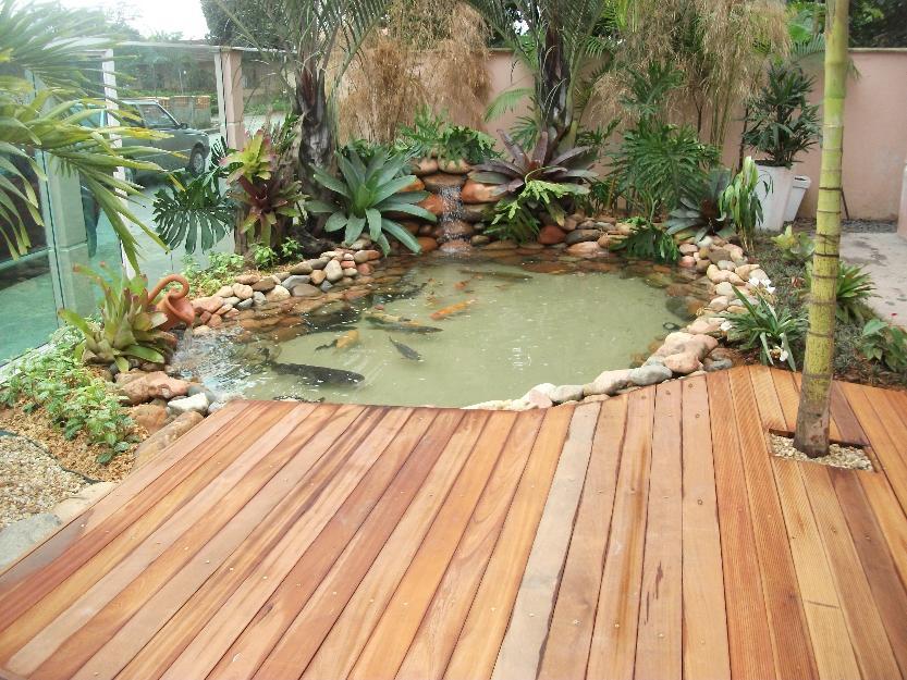 Lago artificial para peixes no jardim modelos for Lagos de jardin