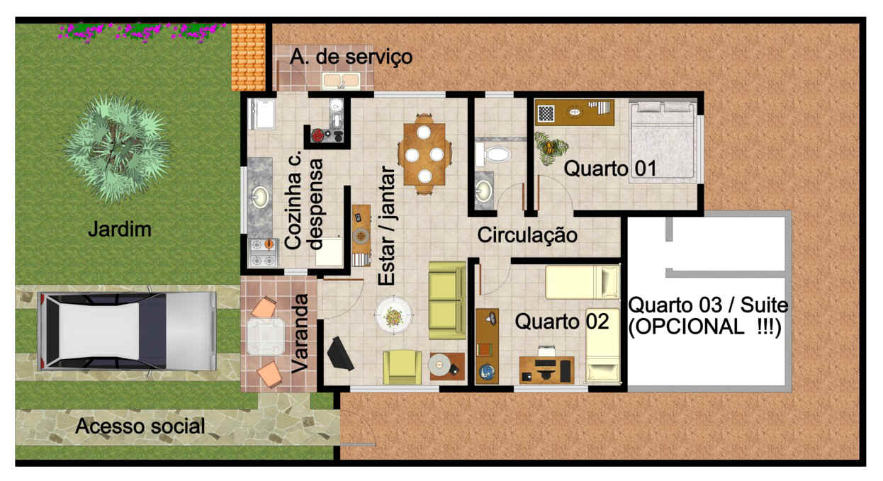 9 projetos de casas populares for Casa popular
