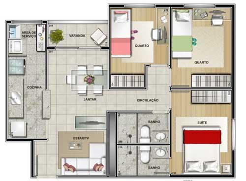 planta-com-tres-quartos-para-construir