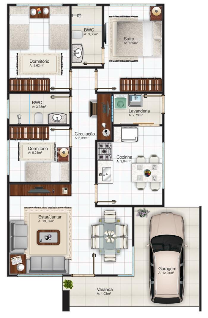12 modelos de plantas de casas com 3 quartos for Plantas para casa