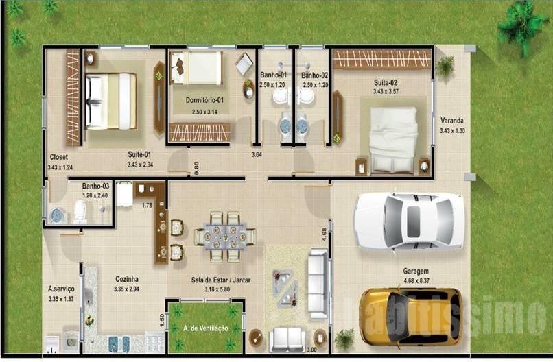 12 modelos de plantas de casas com 3 quartos for Fotos de casas pequenas de dos plantas