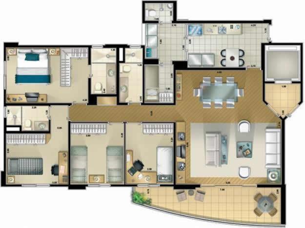 plantas-de-casas-com-tres-quartos