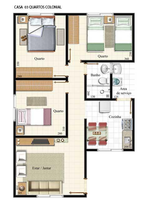 12 modelos de plantas de casas com 3 quartos for Casa moderna 90m2