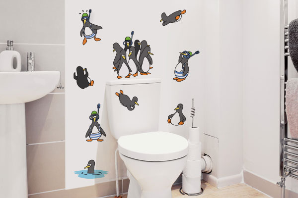 16 fotos de adesivos na decoração do banheiro