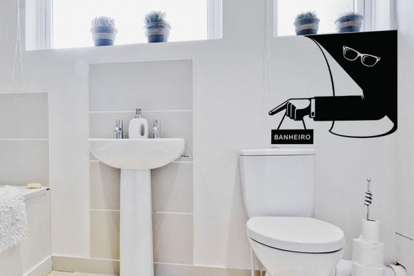 16 Exemplos de Adesivos para decoração de banheiros -> Banheiro Pequeno Adesivo