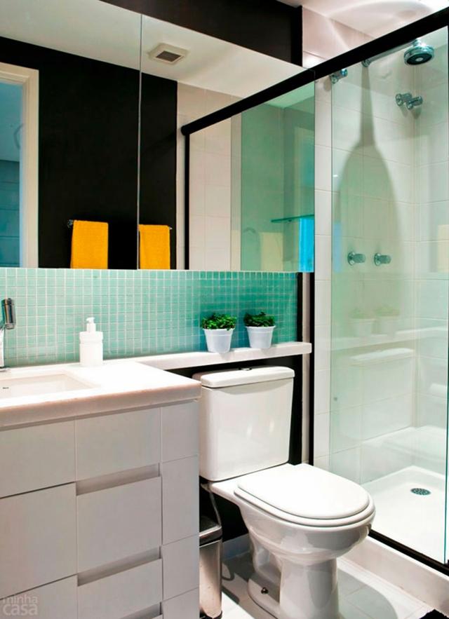 banheiro decorado usando espelho