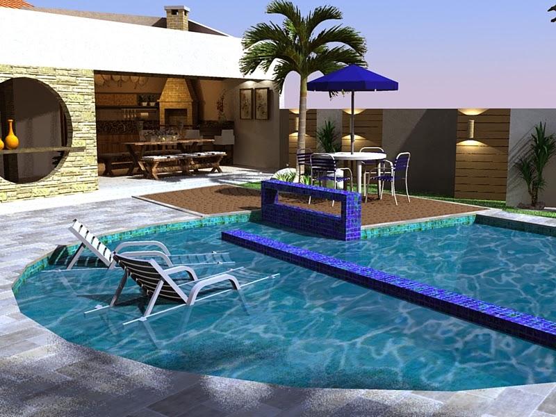 Decoração de Área de Lazer com piscina
