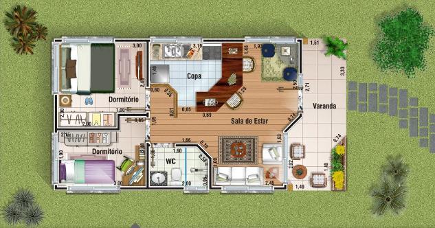 Plantas de casas pequenas e bonitas 22 modelos gr tis for Modelos de casas de campo de una planta