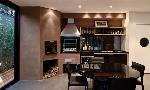 cozinha moderna gourmet com churrasqueira