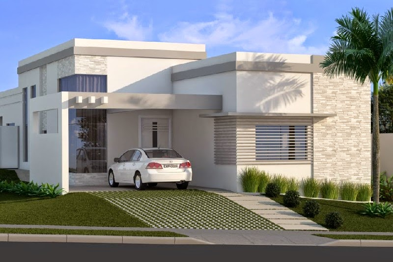 Fachadas de casas bonitas e modernas simples e modelos for Modelos de fachadas modernas