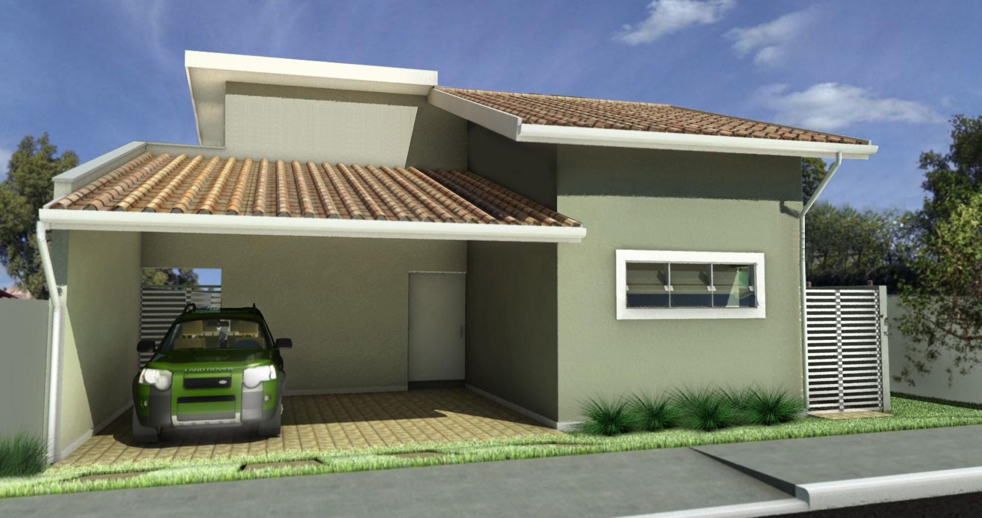 27 modelos de frentes de casas simples e modernas for Modelos jardines para casas pequenas
