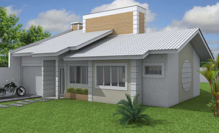 27 modelos de frentes de casas simples e modernas for Modelos de fachadas para casas