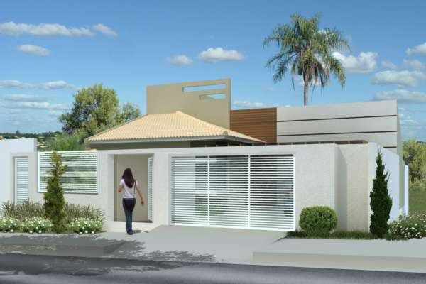 27 modelos de frentes de casas simples e modernas On frente de casas pequenas modernas