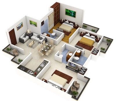 Modelos de plantas de casas em 3d gr tis for Plano casa minimalista 1 planta