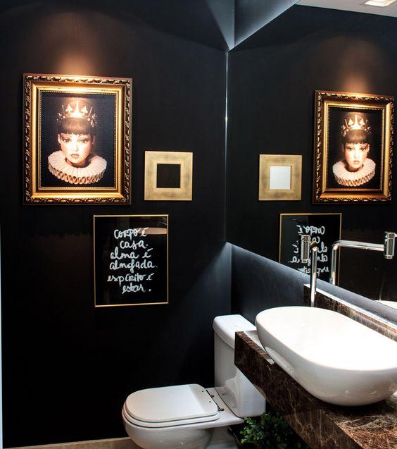 Espelhos para Banheiros (55 Fotos lindas) -> Banheiros Modernos Escuros