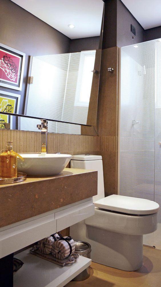 Espelhos para Banheiros (55 Fotos lindas) -> Banheiro Pequeno Espelho