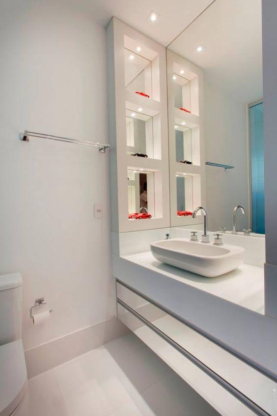Espelhos para Banheiros (55 Fotos lindas) # Pia De Banheiro Ponto Frio