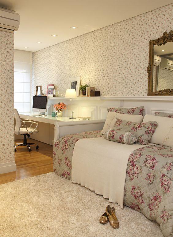40 quartos femininos decorados fotos inspiradoras - Decorar despacho pequeno ...
