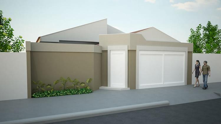 Fachadas de muros simples e bonitos for Casas modernas simples