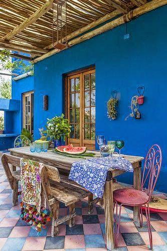 casas coloridas azul