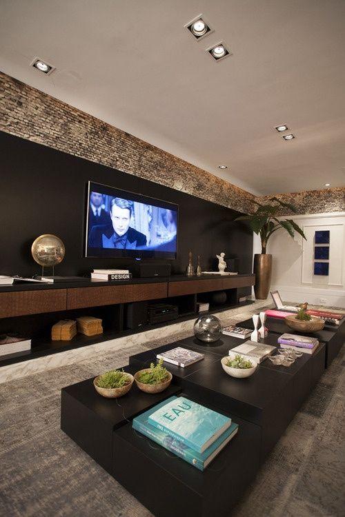 Decora o de home theaters em ambientes 50 fotos para inspirar - Sala home theatre ...