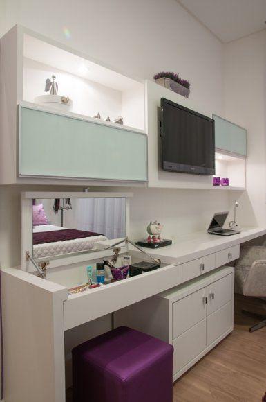 Penteadeiras decoradas 65 fotos dicas para decorar for Pequeno mueble para dormitorio adulto