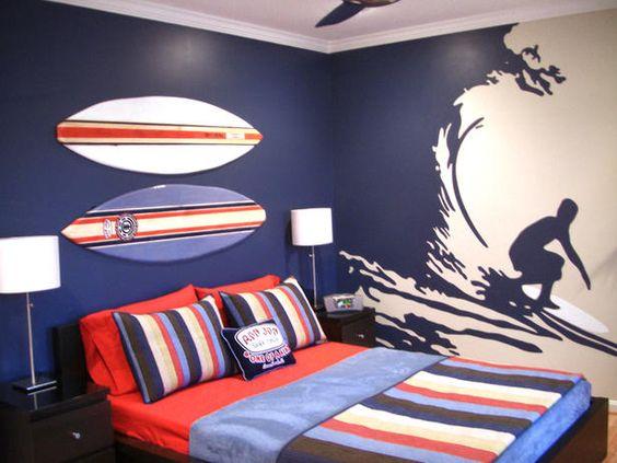 quartos de meninos tema surf