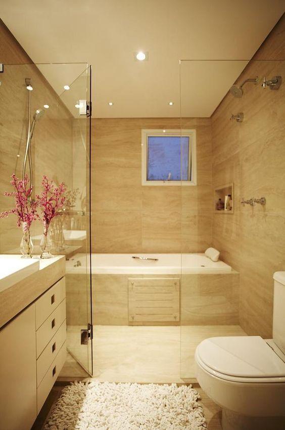 Banheiros com Banheiras 40 Projetos INSPIRADORES! -> Banheiro Com Chuveiro Na Banheira