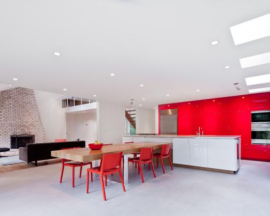 cozinha vermelha grande