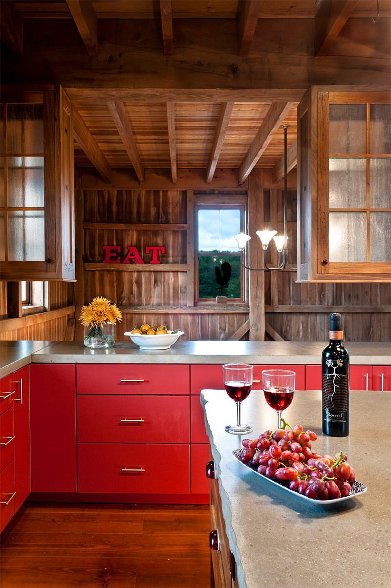 cozinhas vermelhas na fazenda