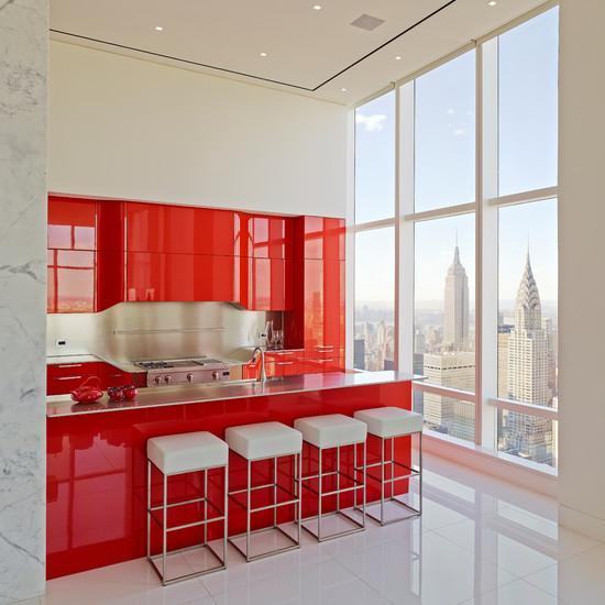 cozinhas vermelhas para apartamentos