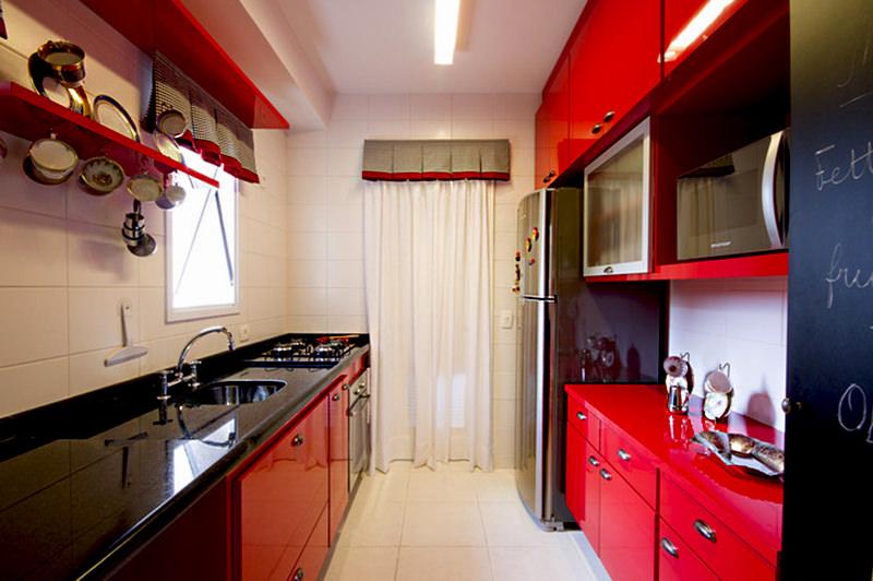 cozinhas vermelhas pequenas