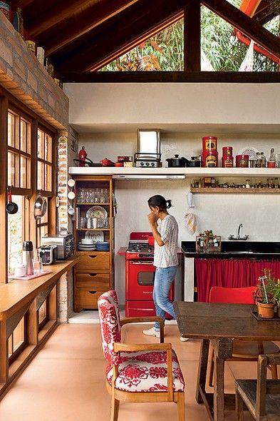 cozinhas vermelhas rústicas