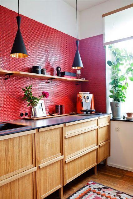 cozinhas vermelhas simples