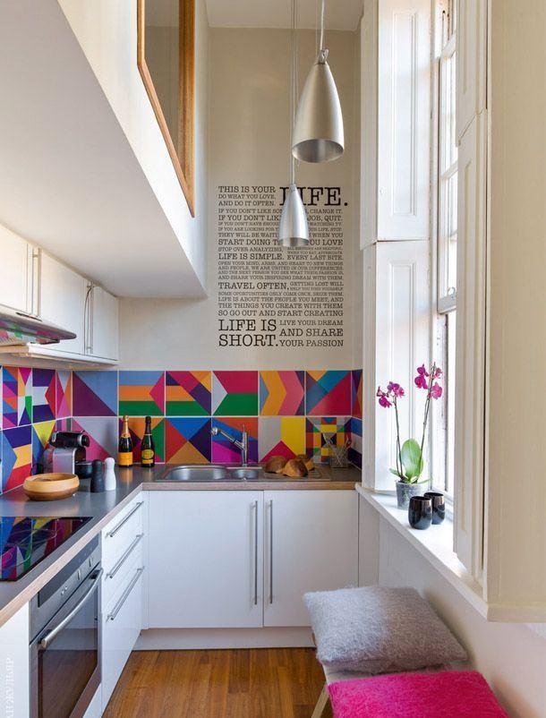 Cozinhas em L coloridas